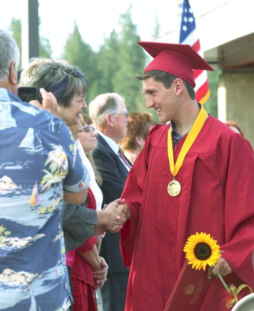Alexander Abrue graduates from Ghidotti Early College High School at Sierra College's Nevada County campus Wednesday evening.