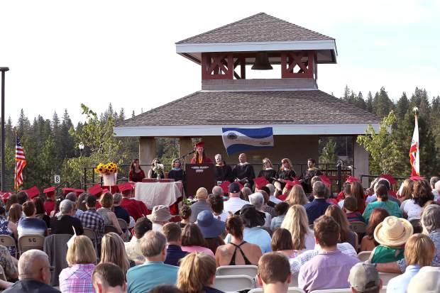 ASB President Alex Junge speaks at the Ghidotti Early College High School graduation commencement at Sierra College's Nevada County campus Wednesday evening.