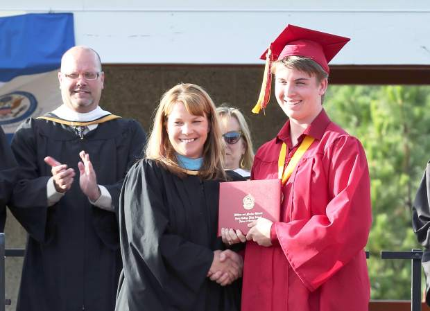 Alec Brown graduates from Ghidotti Early College High School Wednesday evening.