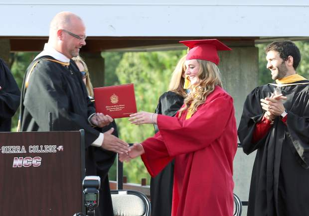 Jessica Burges graduates from Ghidotti Early College High School Wednesday evening at Sierra College — Nevada County Campus.