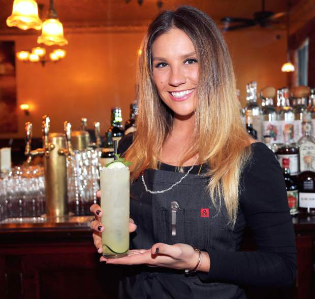 Golden Era bartender Jayme Lee Stewart makes one of their signature cocktails, Grass Valley Girl. The new bar opens today 4pm in downtown Nevada City.