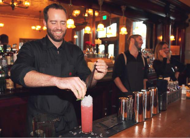 Golden Era bartender Jake Clinton makes one of their signature cocktails, Nevada City Swizzle. The new bar opens today 4pm in downtown Nevada City.