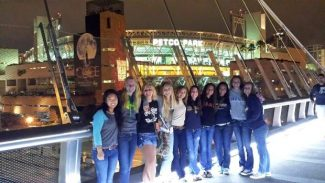 The Grass Valley Magic AAU girls basketball team enjoying the San Diego night life.