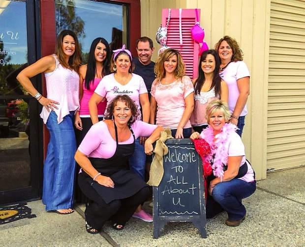 Above, members of the fundraising team, The Pink Boulders raised more than $12,000 last year for Paint the Town Pink, the annual event supporting breast care in Nevada County.