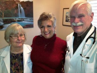 Family nurse practitioner Mary Berg, patient Midge Gallagher and Dr. Jonathan Pierce at Sierra Weight Loss. Gallagher recently lost 60 pounds through their weight loss program.