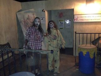 Two zombie actresses scare visitors of the Dr. Mortis Terror at the Feargrounds event.