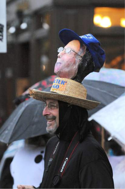 Two heads are better than one at Nevada City's 2014 Halloween Parade on  Broad Street.
