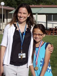 Pictured are Alliah Cope, a Chicago Park fourth-grader and her teacher Jenny Woodbridge. Cope was named a state grade-level winner for the Zaner-Bloser National Handwriting Contest and is eligible to compete for the Grand National Grade-Level Champion title.