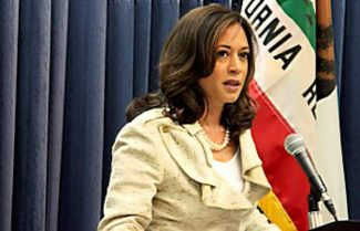 California Attorney General Kamala Harris speaks during a recent press conference.