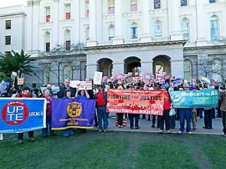 Photo submitted to The Union by Mindy Oberne. About 250 supporters of single-payer healthcare rallied Monday in Sacramento.