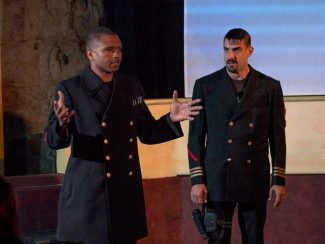 """Harold Bordenave portrays Othello (left) and Jimmy McCammon plays Iago in Synthetic Unlimited's """"Othello""""  playing through this weekend at The Stonehouse in Nevada City."""