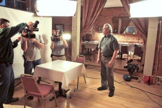 The film crew for the show Hotel Impossible film Ian Garfinkel and the Holbrooke Hotel, which will be featured Sept. 16..
