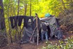 A western Nevada County homeless man enters his encampment Tuesday afternoon October 18. The man, who wished to remain anonymous, says he has permission to be on the property that he stays on in return for keeping the area clean and safe.