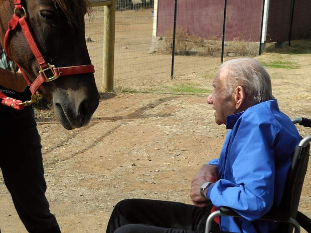 Ken Baker, an 85-year-old patient of dementia, visited Rafael with his daughter, Debbie Baker Evans, on Friday, Oct. 23 at CAPE Animal Sanctuary in Grass Valley, Calif.
