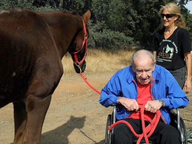 Ken Baker, an 85-year-old patient of dementia, visited Rafael, an abused horse who is now under the care of organizers of Center for Animal Protection & Education at CAPE Animal Sanctuary in Grass Valley on Friday, Oct. 23.