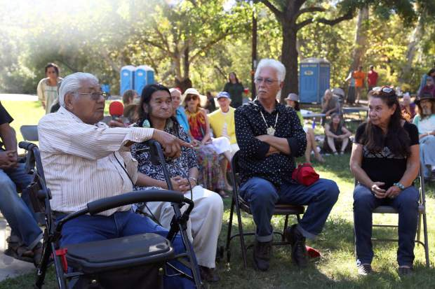 Many people participate in storytelling during the Indigenous Peoples Days celebration at Sycamore Ranch Park in Browns Valley Sunday.