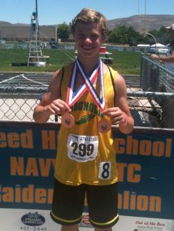 Photo courtesy of Vince Criesco. Magnolia Intermediate student Camden Criesco, 12, wears two medals he won last week at the Junior National Championships in Reno, NV which qualified him to compete in the Junior Olympics July 29 to Aug. 3 in Ypsilanti, MI.