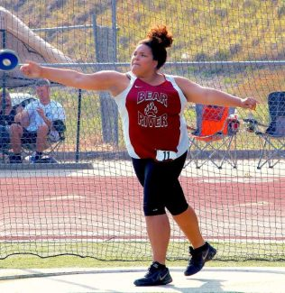 Bear River's Lauren Sheppard competes in the discus at the Kays/Ostrom Invitational Friday at NU.