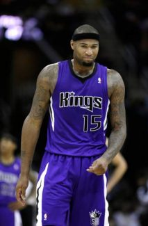 Sacramento Kings' DeMarcus Cousins walks downcourt during an NBA basketball game against the Cleveland Cavaliers Wednesday, Jan. 2, 2013, in Cleveland.  (AP Photo/Tony Dejak)