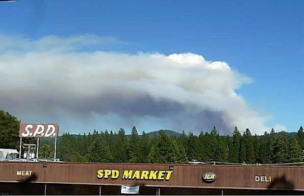The Lowell Fire as viewed from the SPD Market in Nevada City Saturday afternoon.