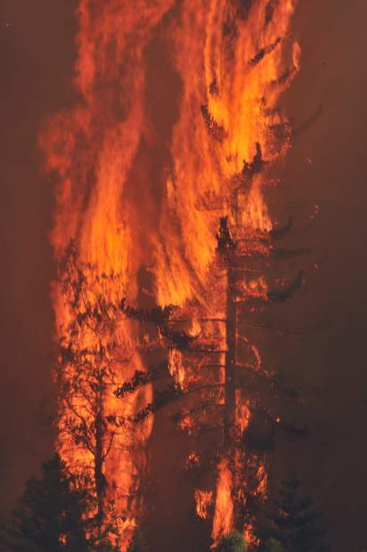 Lowell Fire burns through Nevada County on Saturday.