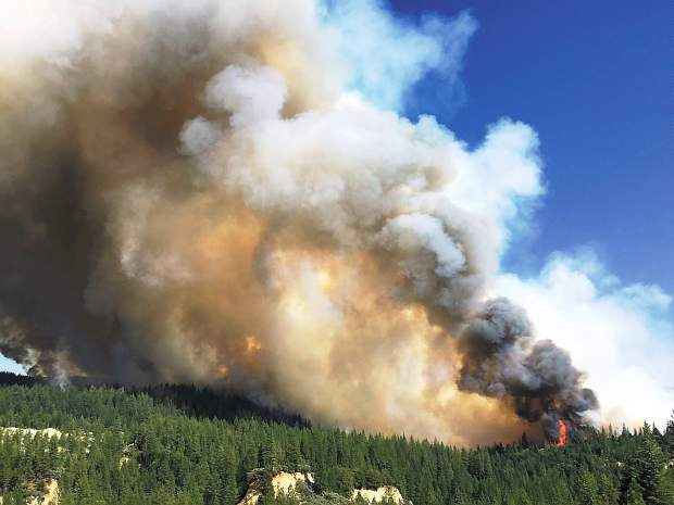 Lowell Fire burns through Nevada County of Saturday.