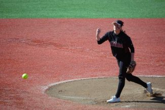 Sierra College hurler Maddie Phelps pitches during a Big 8 Conference softball game Saturday at Santa Rosa.