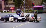 Law enforcement officials blockade Nevada City Highway next to the site of the former Lyon's Restaurant, one of two sites involved in the Jan. 10, 2001 shootings that left three dead and three seriously injured in western Nevada County.