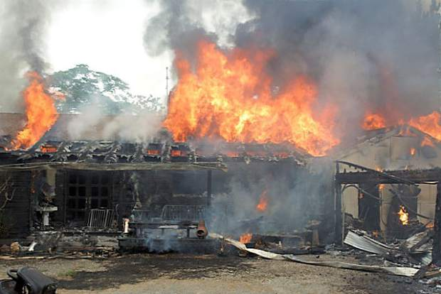 Firefighters battled a structure fire on McCourtney Road Saturday afternoon. Cal Fire, Higgins, Grass Valley, Nevada County Consolidated, and Penn Valley fire departments responded to the fire.