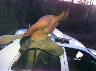 Jeffrey Garcia get stuck in his attempt to escape from a Nevada County Sheriffs Office squad car.