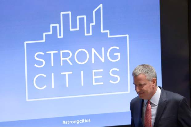 New York City Mayor Bill de Blasio arrives for the launch of the Strong Cities Network to Strengthen Community Resilience Against Violent Extremism conference, Tuesday, Sept. 29, 2015,  at United Nations Headquarters. (AP Photo/Mary Altaffer)