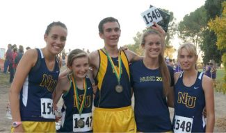 MINERS POSE (left to right): Kali Arvidson, Nora Pizzella, Garrett Migliozzi, Holly Harrison and Erika Wolf stand together respresenting the Nevada Union cross country team at the 2013 McDonalds' Rough Rider Invitational meet Friday in Clovis. Not pictured: Karina Martinez and Kristina Martinez.