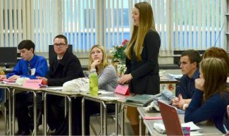 Nicolette Ronnigen  debates a resolution with  the Security Council during a Model UN program Wednesday at Nevada Union HIgh School.