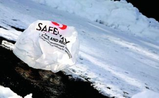 A grocery store plastic bag lies in a Truckee parking lot on Jan. 10.