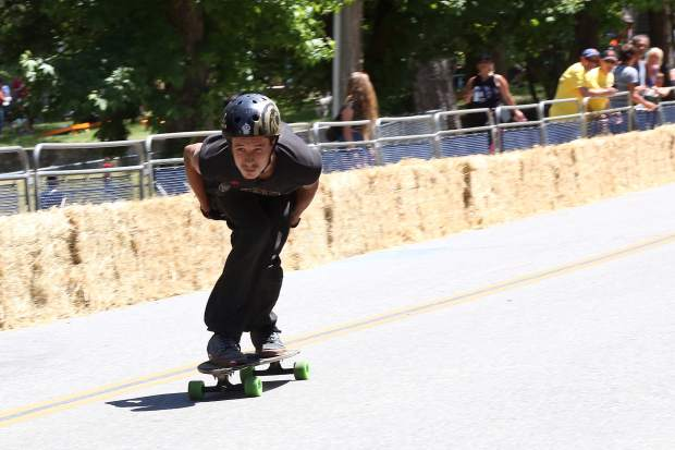 Racers compete in the Soapbox Derby on Nimrod Street in Nevada City Sunday afternoon.