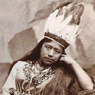 """Sarah Winnemucca, called """"The Paiute Princess"""" by the press, toured the U.S. speaking out against the treatment of her people.  She wrote"""" Life Among the Piutes"""" in 1883, from her lecture notes. Sarah's grandfather, Chief Truckee, guided Frémont's expedition over the Sierra summit."""