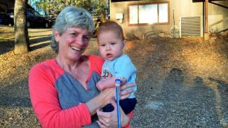 Jan Crowell with her grandnephew, Dylan.