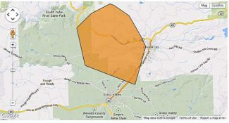 A map of the Grass Valley area impacted by the power outage Tuesday morning.