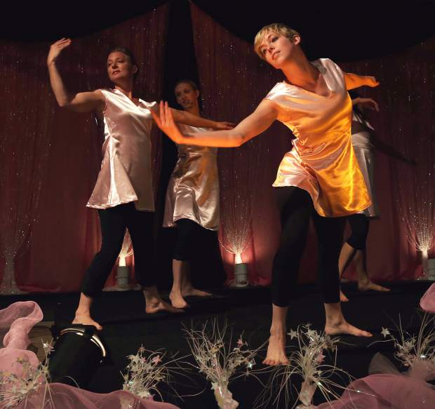 Movement Alliance perform during Paint the Town Pink at the Nevada County Fairgrounds Thursday evening.