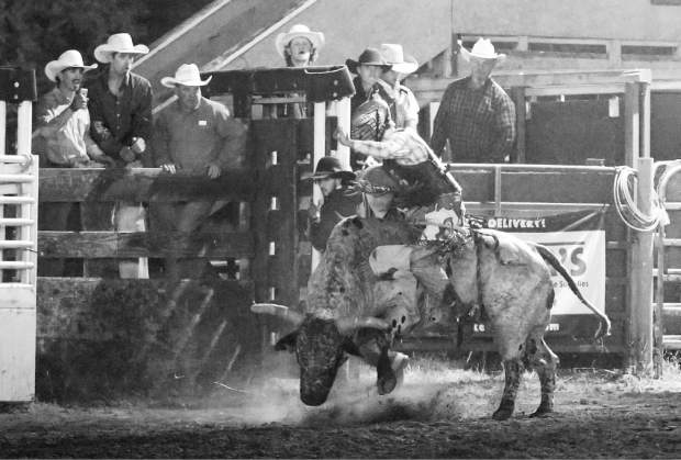 Bull riding at the Penn Valley Rodeo Friday evening.