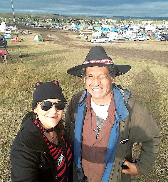 Jennifer Robin and Michael Ben Ortiz at the site of the pipeline protest in North Dakota.