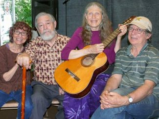 Café Writers and Clock Tower Records will present a celebration of the Autumnal Equinox from 2 to 4 p.m. Saturday. The community is invited to share poetry and music during the free open mic event. Organizers (from left) Beverly Korenwaser, Bill Durbrow, Myra Traugot and Iven Lourie.