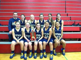 The Nevada Union girls freshmen basketball team poses with their second place trophy from the Bella Vista Bronco Bill Tourney.