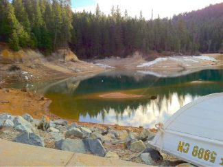 Water levels of Scotts Flat Lake Reservoir, along highway 20, look unseasonably low in this photo taken in early January. The National Weather Service has issued a Red Flag warning for fire danger in Nevada County.