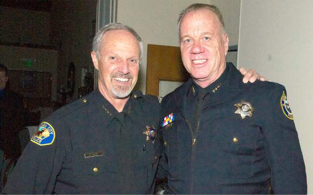 The 16th annual Red Light Ball presented by the Nevada County Law Enforcement and Fire Protection Council, Saturday evening, Alta Sierra Country Club. Nevada City Chief Tim Foley, and John Foster, Grass Valley Police Chief(right).