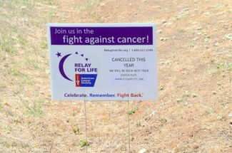 A small sign in front of Ready Springs School in Penn Valley announces that thisyear's Relay for Life has been canceled, but will return next year.