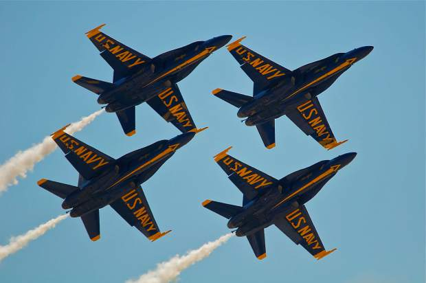 The U.S. Navy Blue Angels provided additional thrills for race fans between the afternoon pylon heats at the 53rd annual National Championship Air Races in Reno.