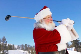 Father Christmas Playing Golf in the Snow