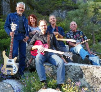 "From left to right in photo is Dan Tustin, Kathy ""Kat"" Purdy, Randy Randall, Ken Bigham, and Allan Perrone of Runnin' 4 Cover."