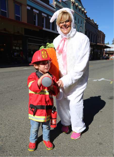 Carol and Max Muran participate in Safe Trick or Treat in downtown Grass Valley Friday.